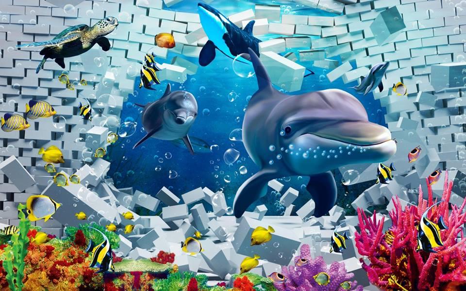Tranh dán tường 3D chủ đề động vật