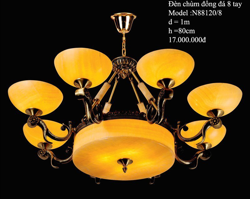 Đèn Chùm Đồng Đá-HT-002